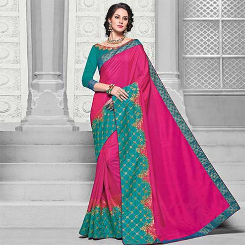 Sensational Magenta Pink Colored Designer Embroidered Partywear Silk Saree