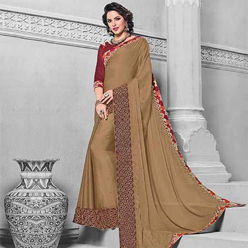Radiant Brown Colored Designer Embroidered Partywear Georgette Saree