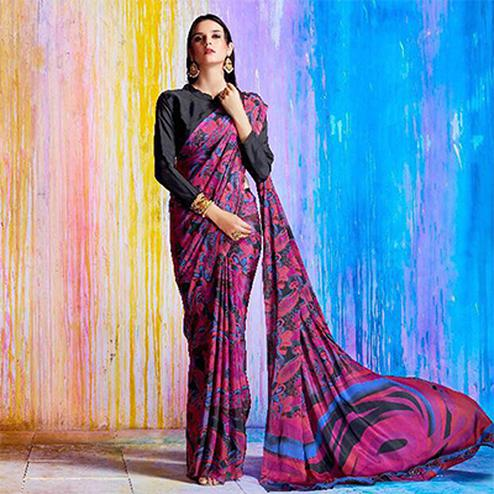 Captivating Pink Printed Crepe Silk Designer Saree