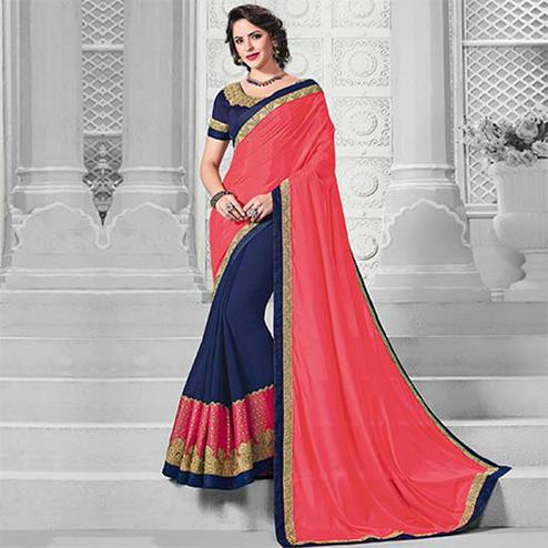 Opulent Pink-Blue Colored Designer Embroidered Partywear Silk-Marble Chiffon Saree