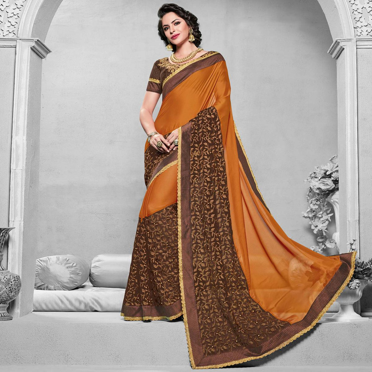 Charming Orange-Brown Colored Designer Embroidered Partywear Georgette Saree