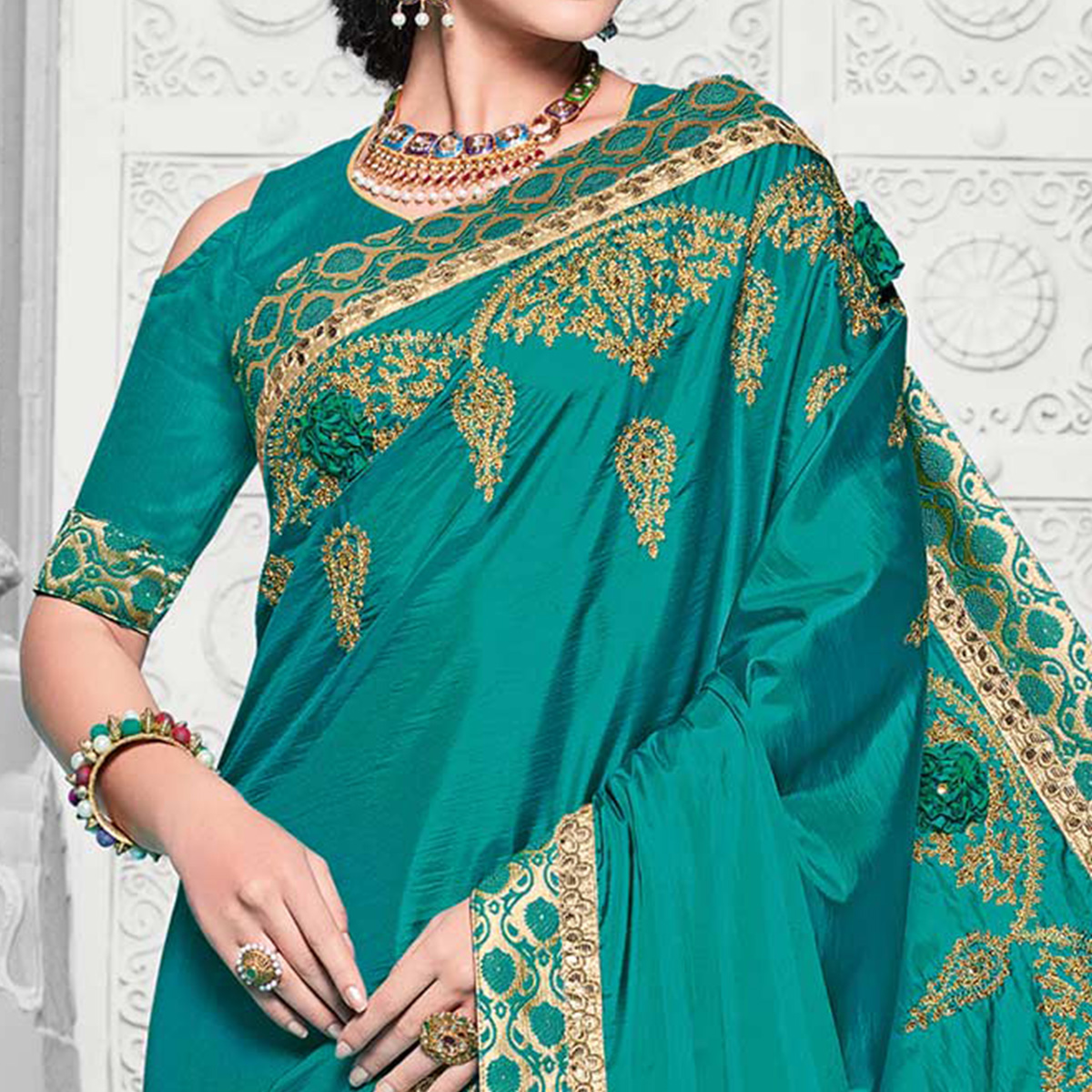 Stunning Cyan Colored Designer Embroidered Partywear Two Tone Silk Saree