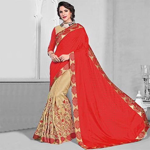 Marvellous Orange-Beige Colored Designer Embroidered Partywear Silk Saree