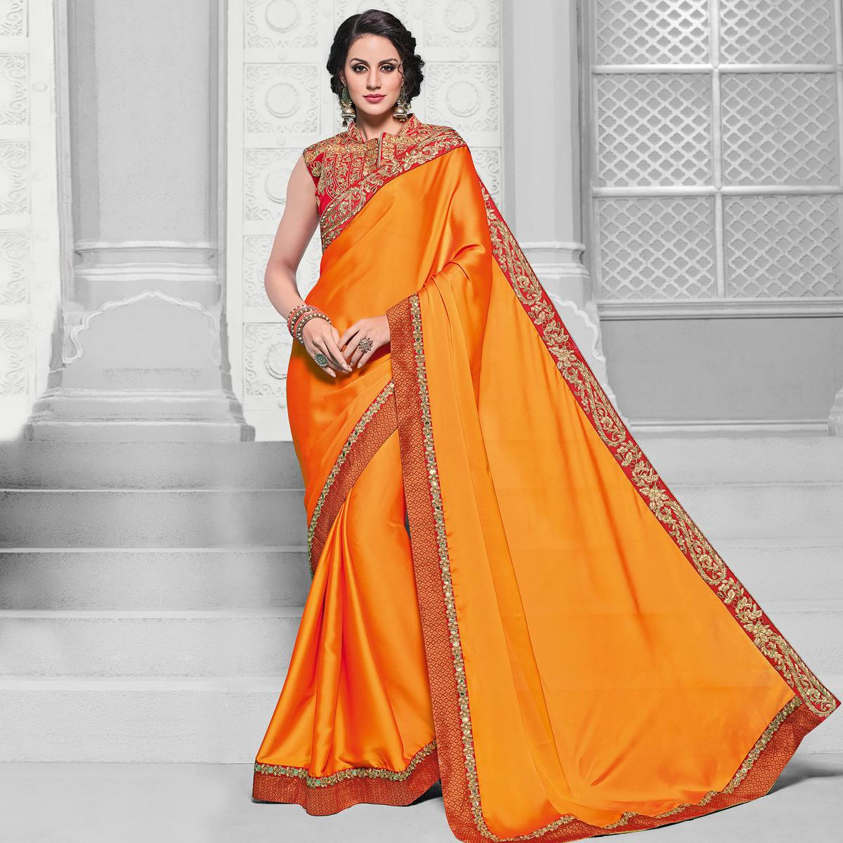 Ravishing Orange Colored Designer Embroidered Partywear Two-Tone, Georgette Saree