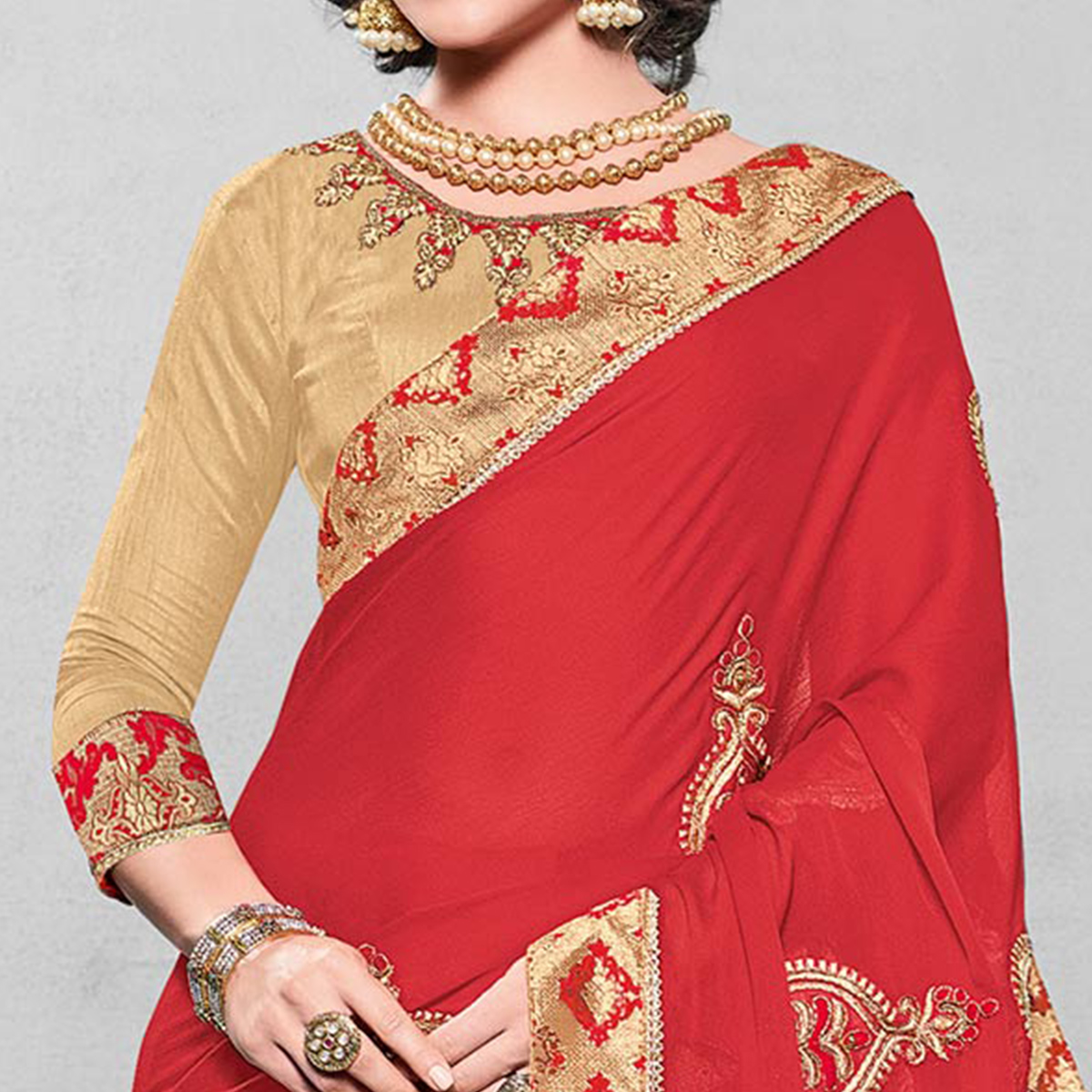 Flattering Red Colored Designer Embroidered Partywear Moss Chiffon Saree