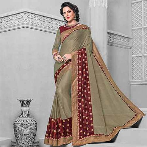 Gleaming Green Grey Colored Designer Embroidered Partywear Two Tone Imported Saree