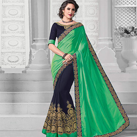 Arresting Green-Navy Blue Colored Designer Embroidered Partywear Two Tone Silk-Georgette Saree