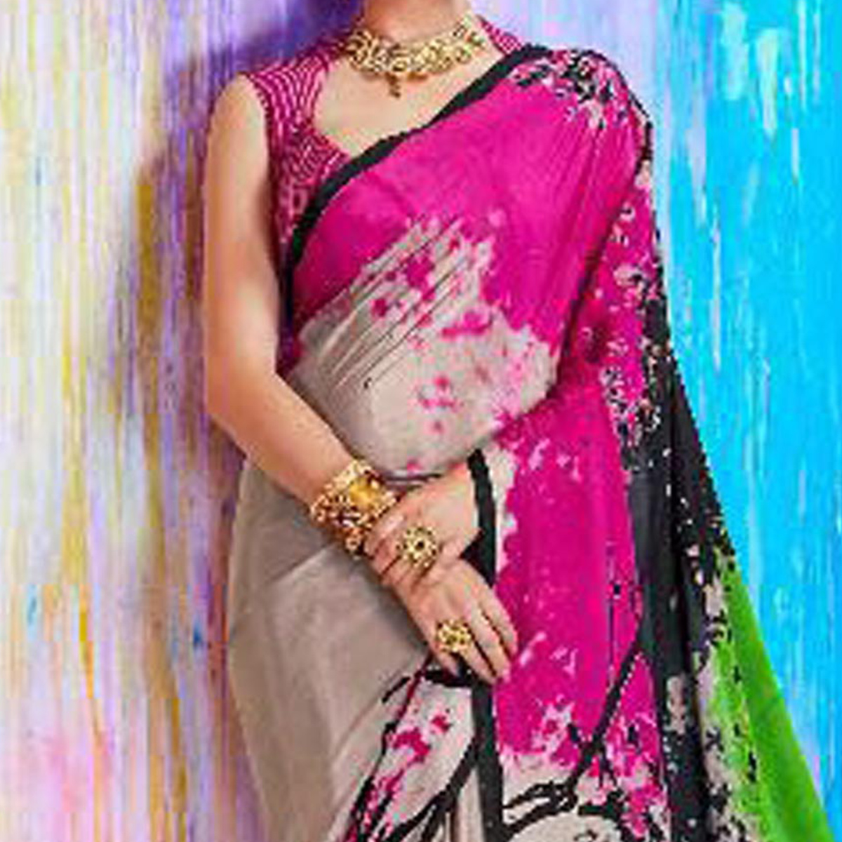 Bewitching Multi Printed Crepe Silk Designer Saree
