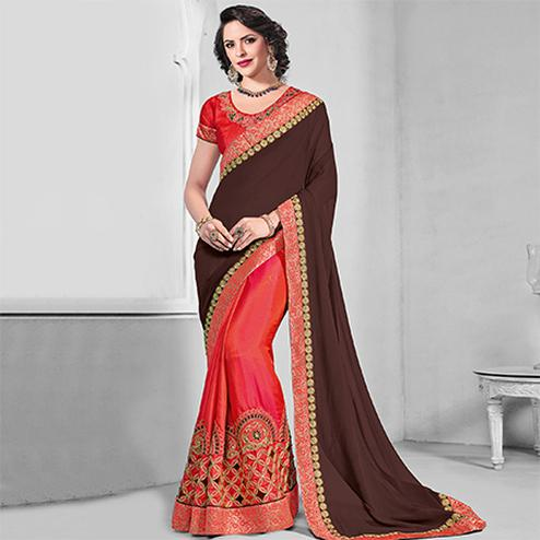 Gorgeous Brown-Orange Colored Designer Embroidered Partywear Chiffon-Two Tone Silk Saree