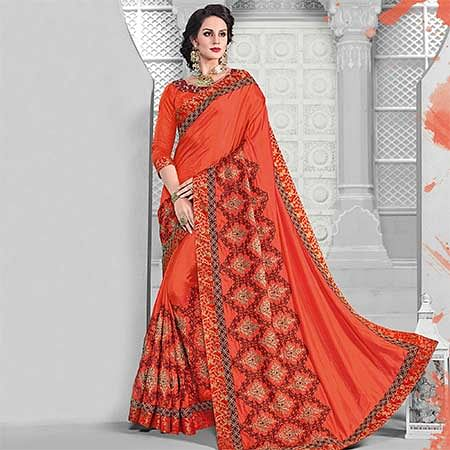 Delightful Orange Colored Designer Embroidered Partywear Two Tone Silk Saree