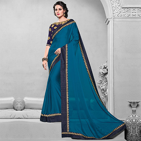 Lovely Peacock Blue Colored Designer Embroidered Partywear Moss Chiffon Saree