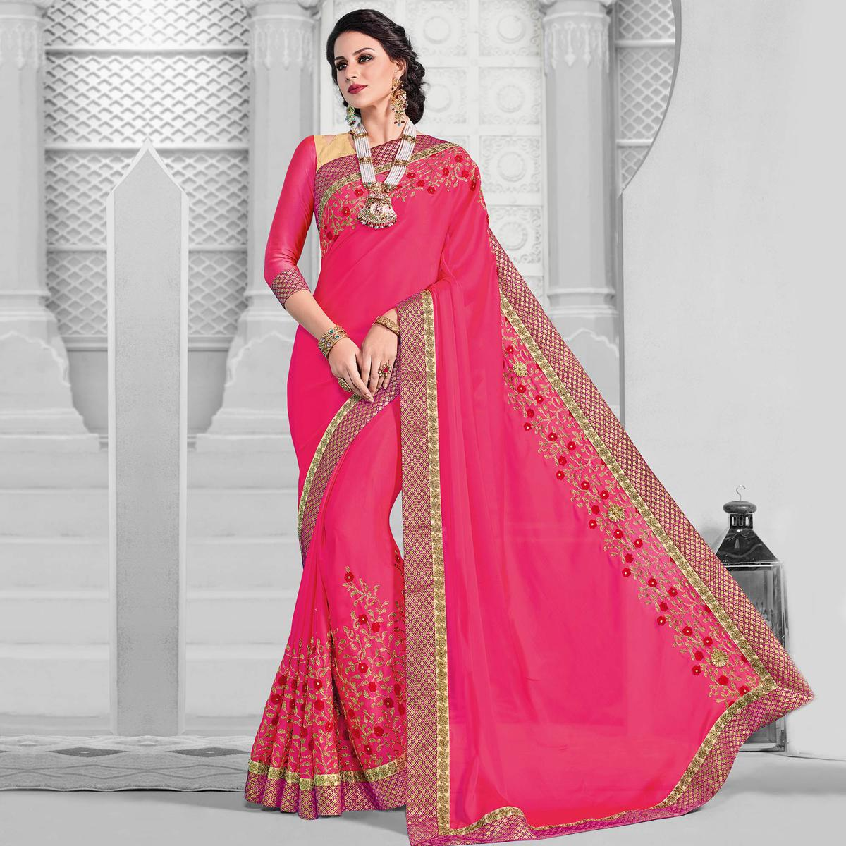Majesty Pink Colored Designer Embroidered Partywear Bright Georgette Saree