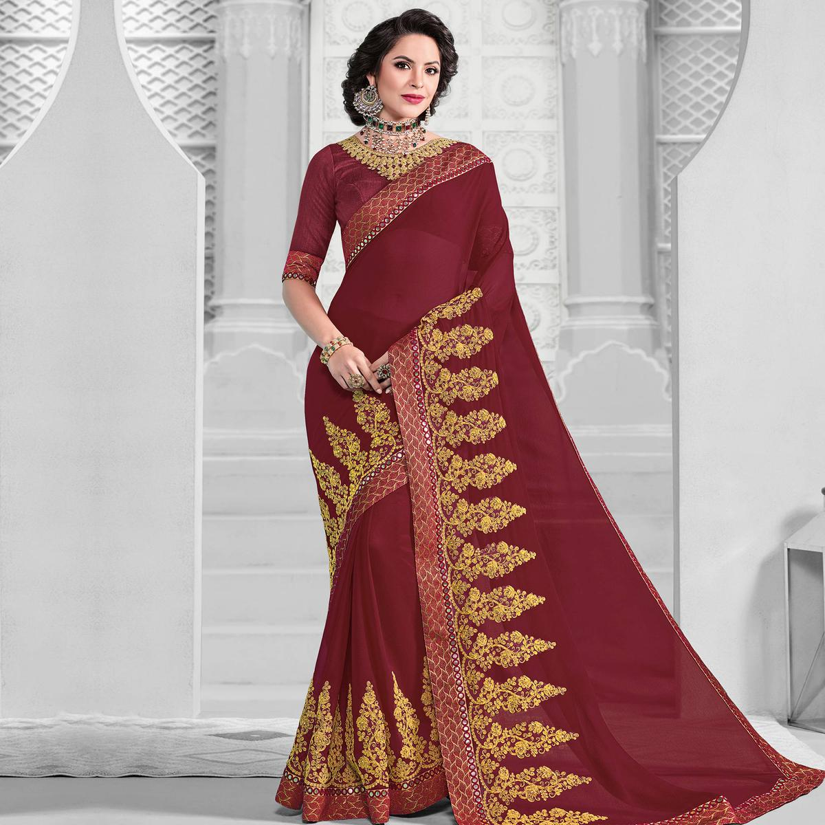 Energetic Maroon Colored Designer Embroidered Partywear Marble Chiffon Saree