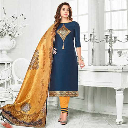 Navy Blue - Yellow Colored Digital Printed Party Wear Satin Cotton Suit