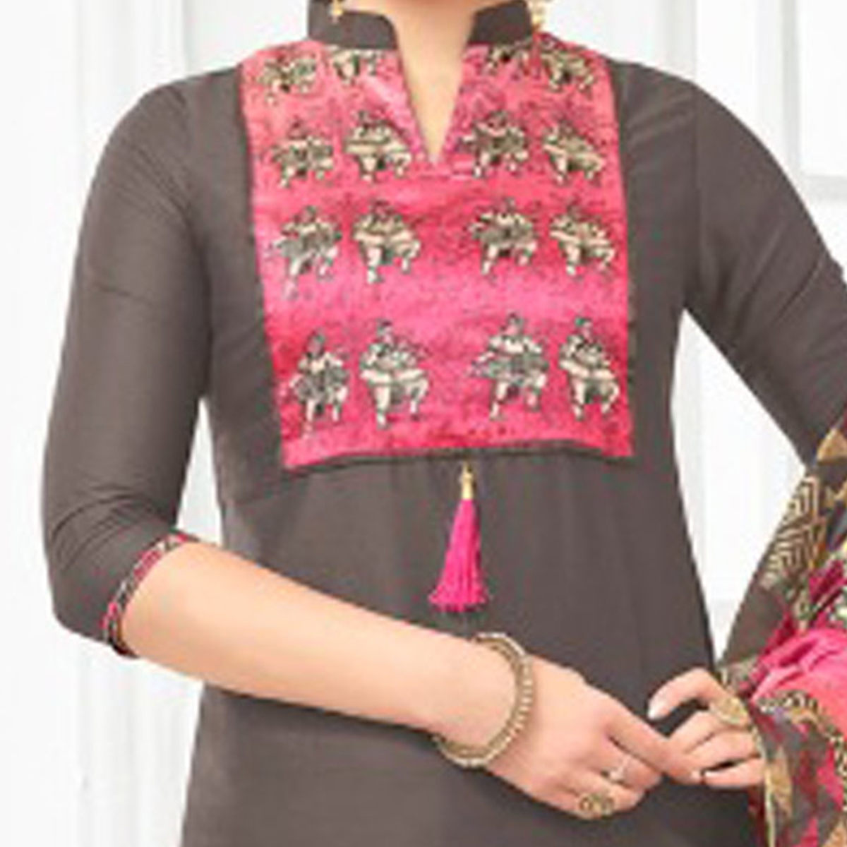 Grey - Pink Colored Digital Printed Party Wear Satin Cotton Suit