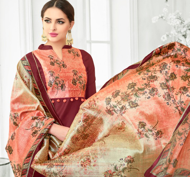 Maroon Colored Digital Printed Party Wear Satin Cotton Suit