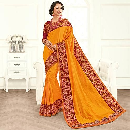 Charming Orange Colored Embroidered Work Party Wear Two Tone Silk Saree