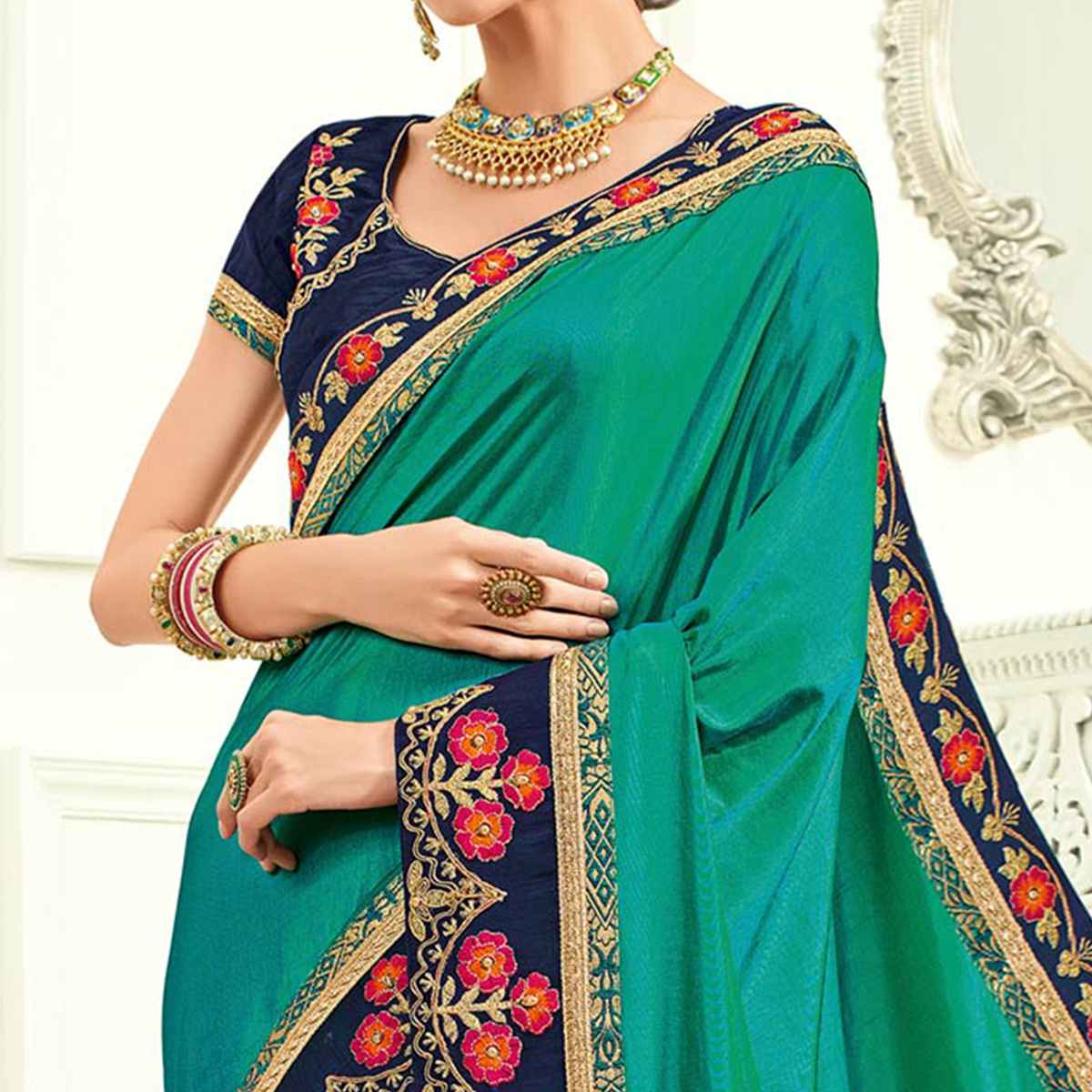 Ravishing Green Colored Embroidered Work Party Wear Two Tone Silk Saree