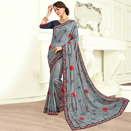 Delightful Grey Colored Embroidered Work Party Wear Georgette Saree