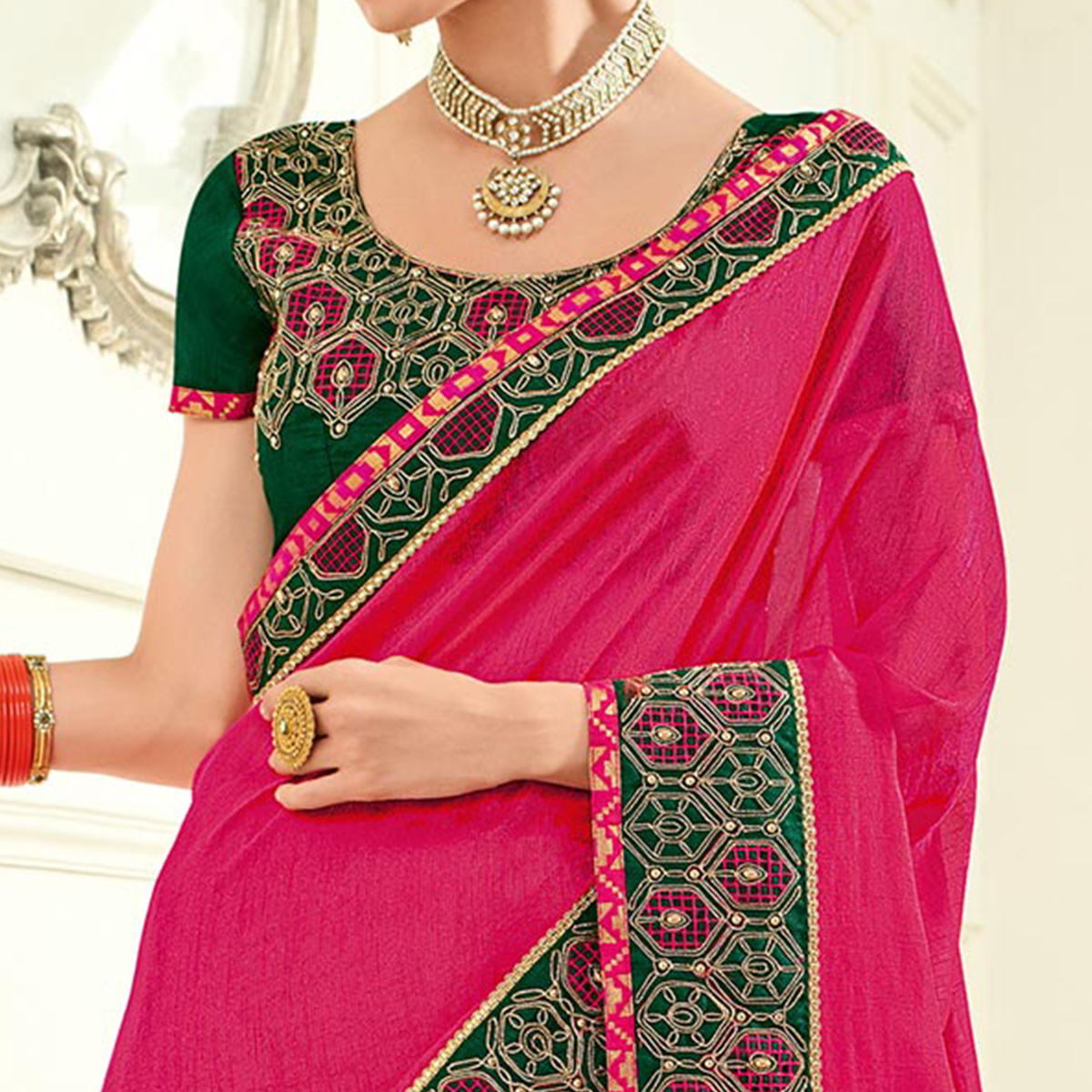 Stunning Magenta Colored Embroidered Work Party Wear Two Tone Silk Saree