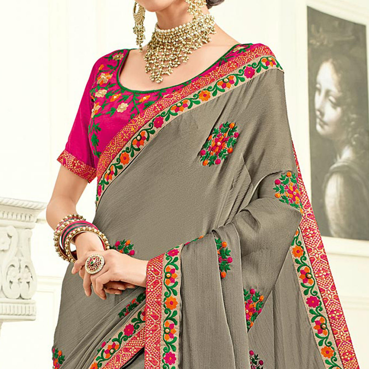 Blooming Grey Colored Embroidered Work Party Wear Two Tone Silk Saree