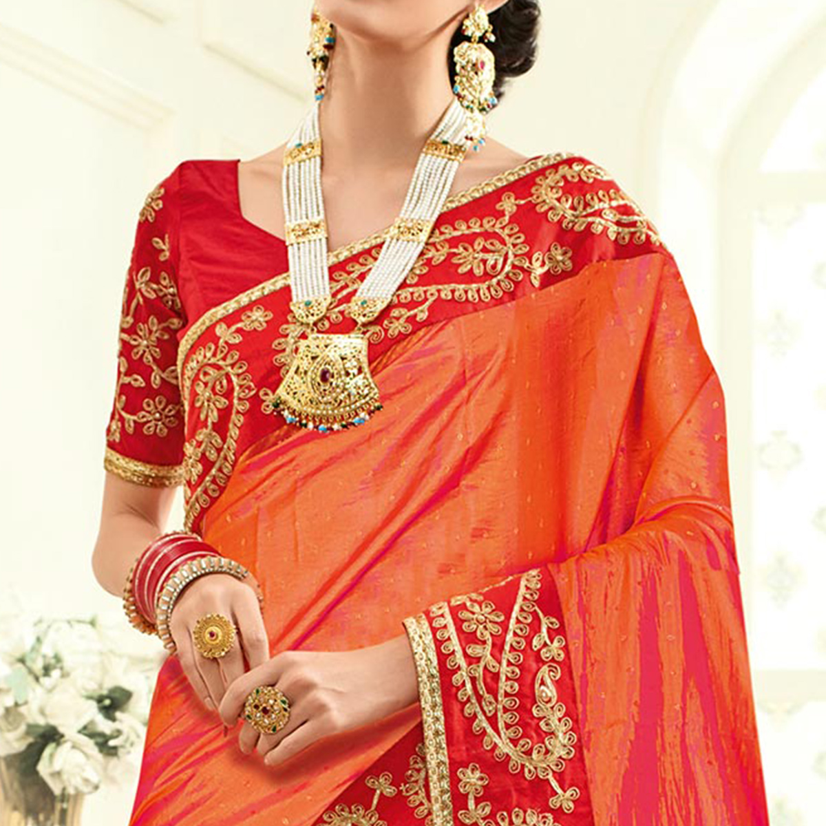 Marvellous Pink Colored Embroidered Work Party Wear Two Tone Georgette Saree