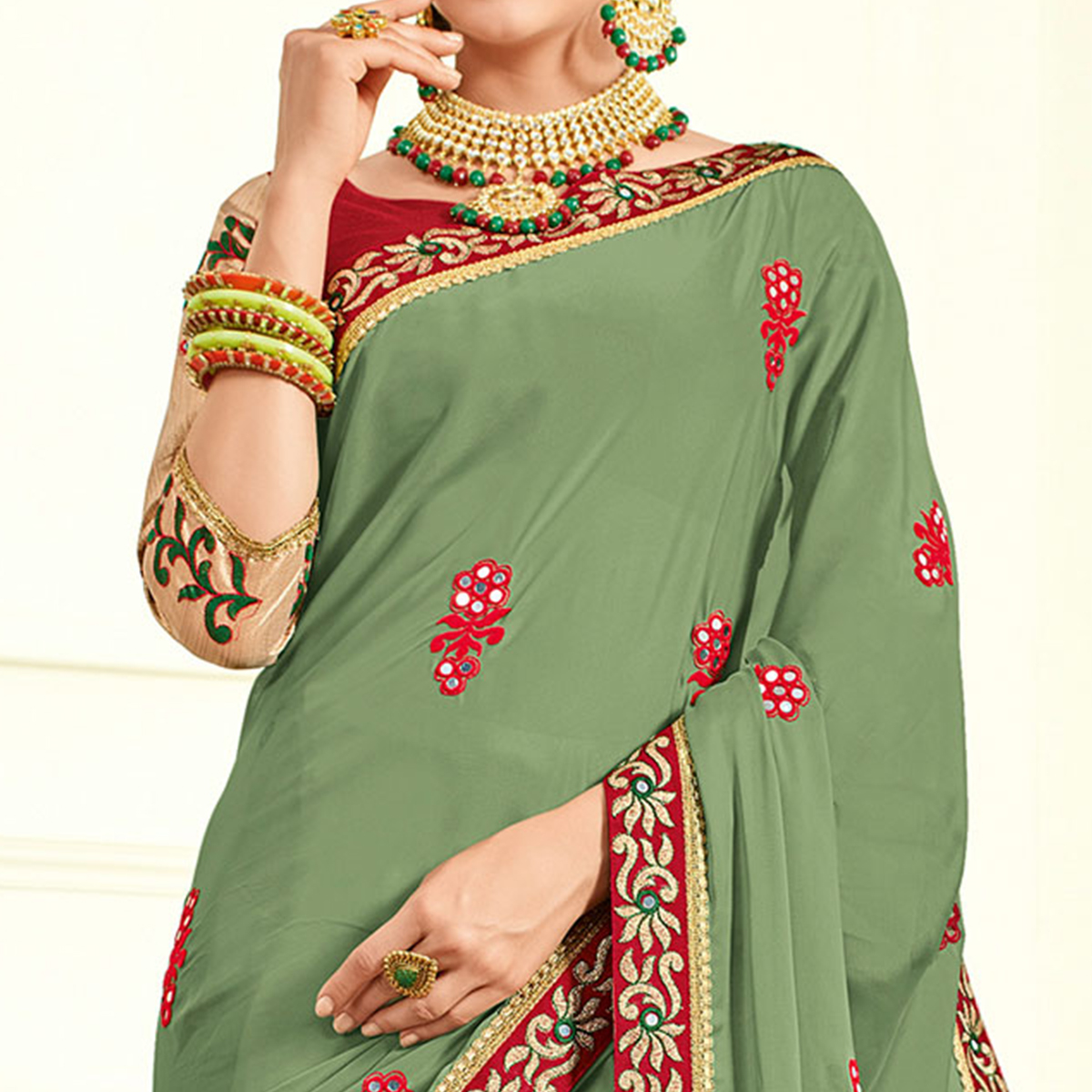 Mesmerising Green Colored Embroidered Work Party Wear Moss Chiffon Saree