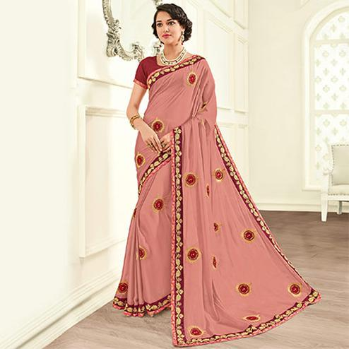 Ravishing Pink Colored Embroidered Work Party Wear Two Tone Silk Saree