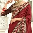 Eye-catching Maroon Colored Embroidered Work Party Wear Silk Saree
