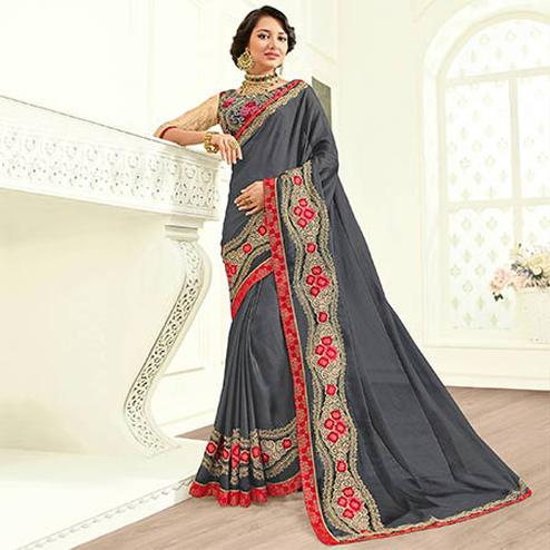 Amazing Grey Colored Embroidered Work Party Wear Georgette Saree