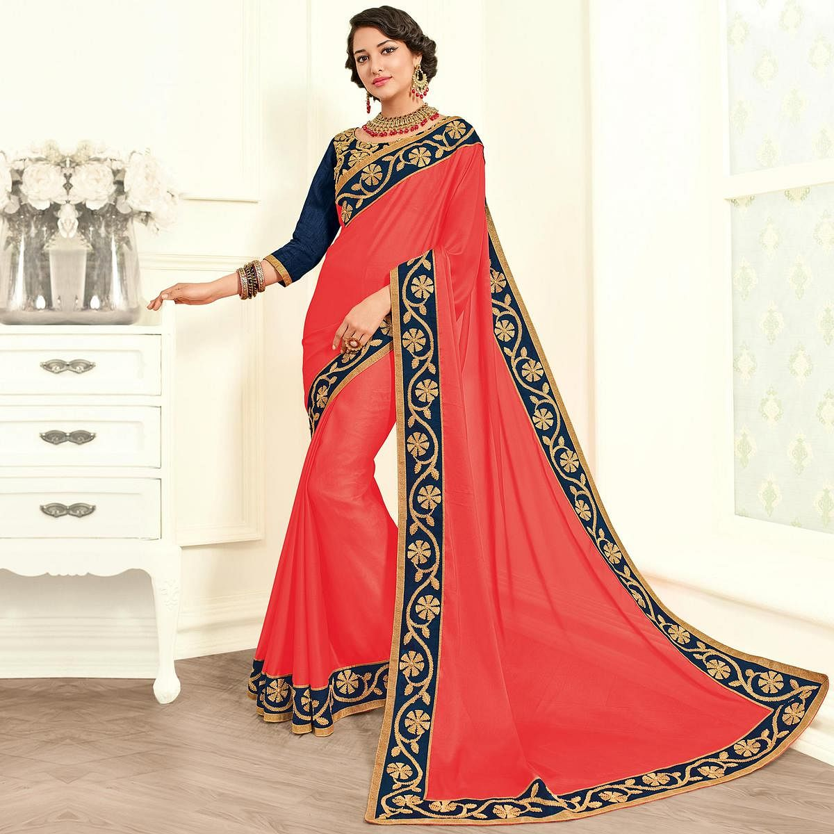 Exotic Pink Colored Embroidered Work Party Wear Moss Chiffon Saree