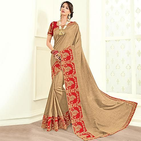Majesty Beige Colored Embroidered Work Party Wear Two Tone Georgette Saree