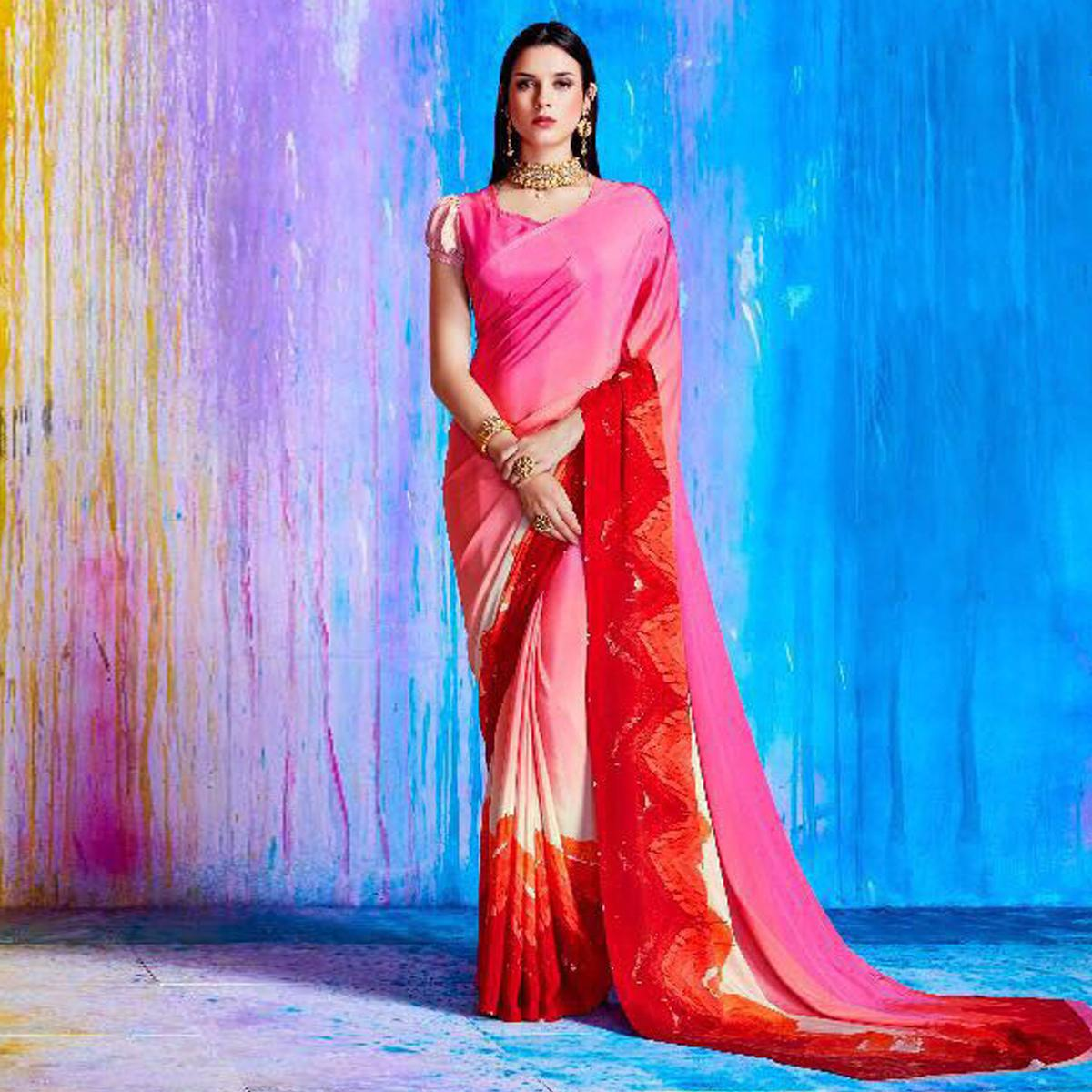 Appealing Pink And Red Shaded Crepe Silk Designer Saree