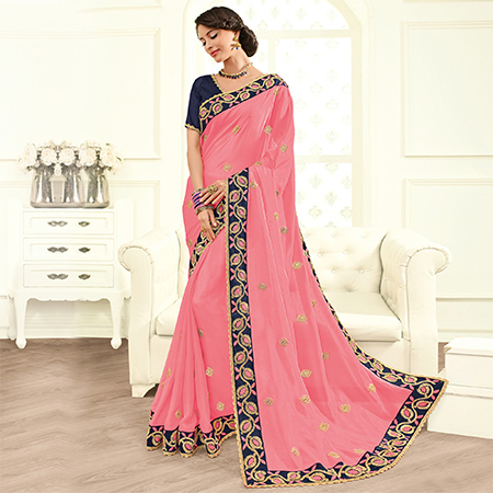 Preferable Pink Colored Embroidered Work Party Wear Georgette Saree
