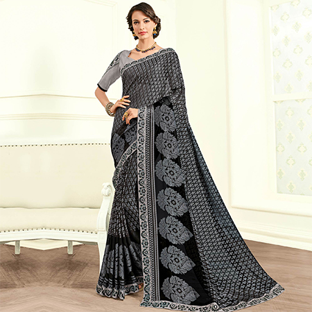 Prominent Grey Colored Embroidered Work Party Wear Two Tone Slub Saree