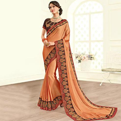 Deserving Orange Colored Embroidered Work Party Wear Two Tone Silk Saree