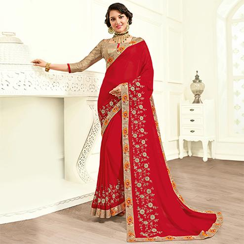 Extraordinary Red Colored Embroidered Work Party Wear Cotton Silk Saree