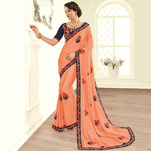 Energetic Pink Colored Embroidered Work Party Wear Satin Georgette Saree
