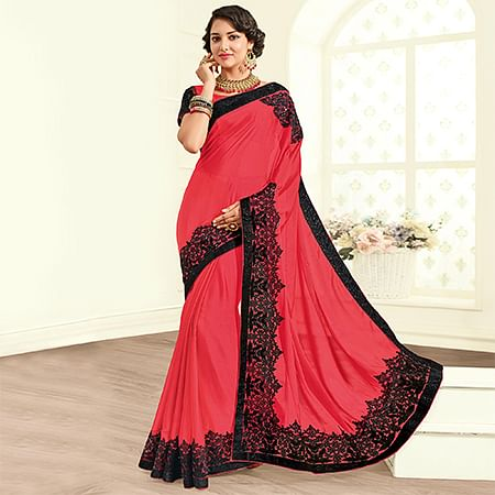 Glowing Red Colored Embroidered Work Party Wear Brasso Saree