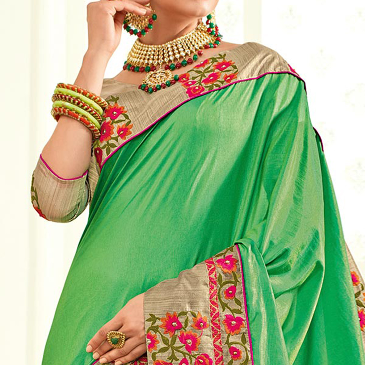 Awesome Green Colored Embroidered Work Party Wear Chiffon Saree