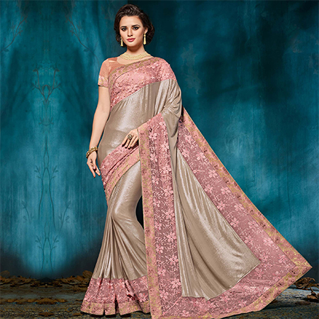 Gleaming Pink-Gold Colored Designer Party Wear Jacquard Saree