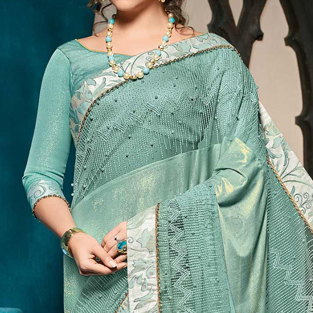 Opulent Cyan Colored Designer Party Wear Jacquard Saree