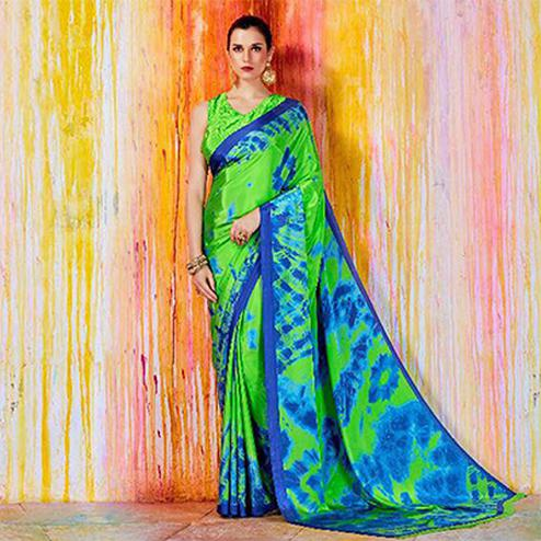 Stunning Green And Blue Crepe Silk Designer Saree