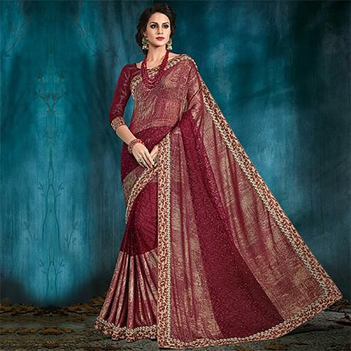 Radiant Maroon Colored Designer Party Wear Silk Saree