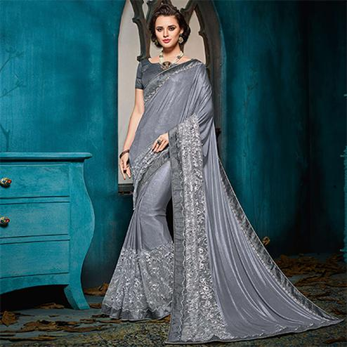 Adorning Grey Colored Designer Party Wear Jacquard Saree