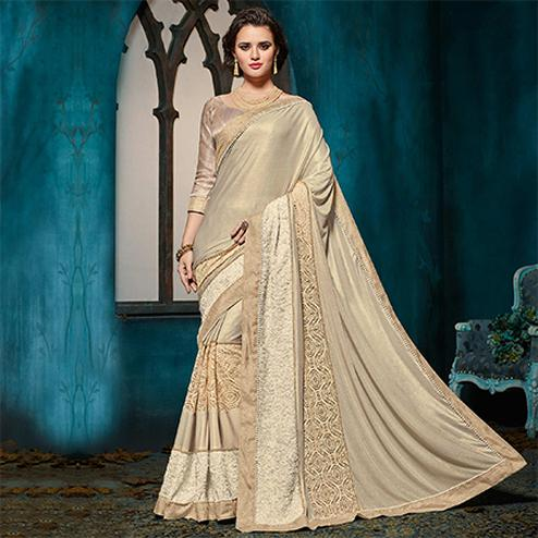 Deserving Beige Colored Designer Party Wear Jacquard Saree