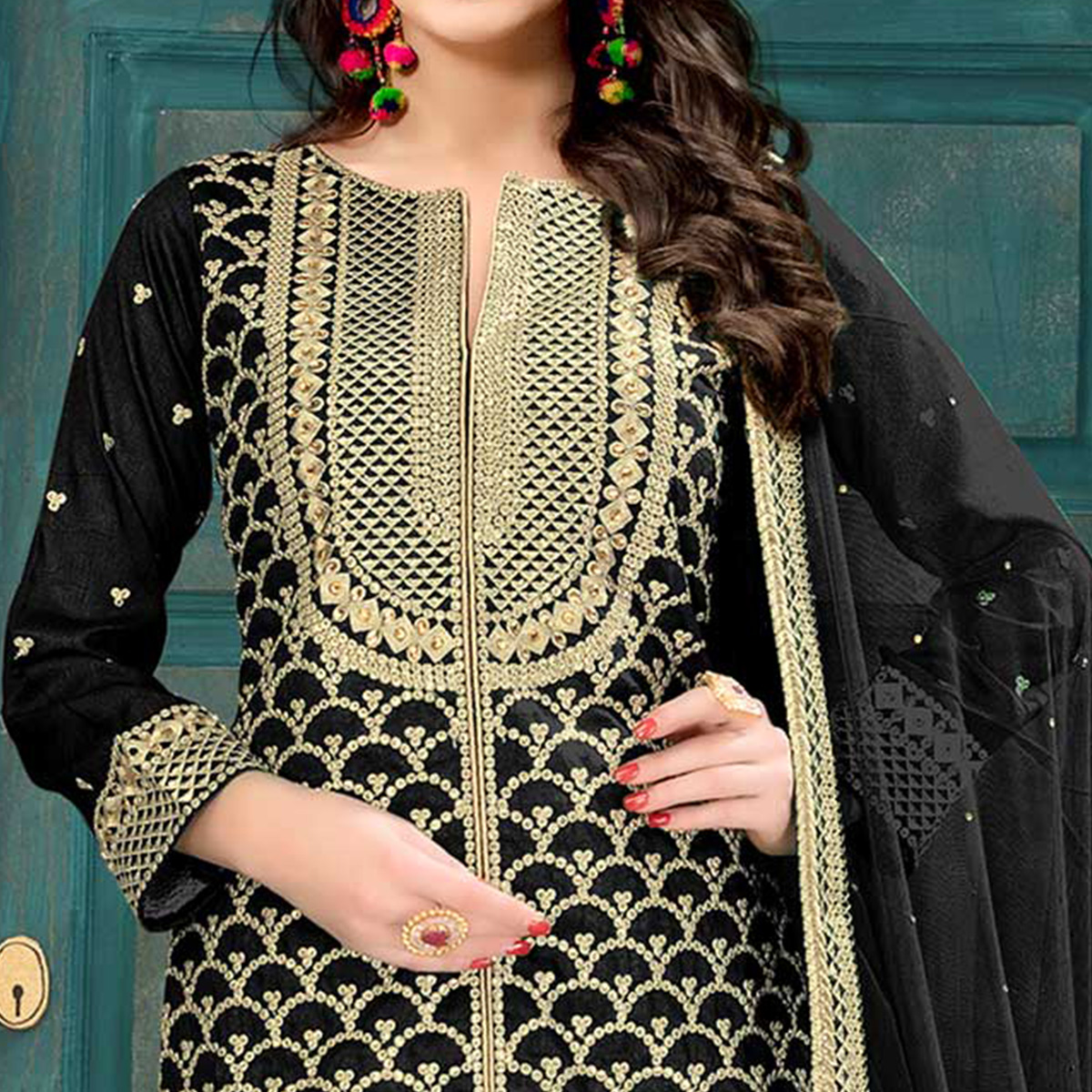 Irresistible Black Colored Partywear Embroidered Art silk Palazzo Suit
