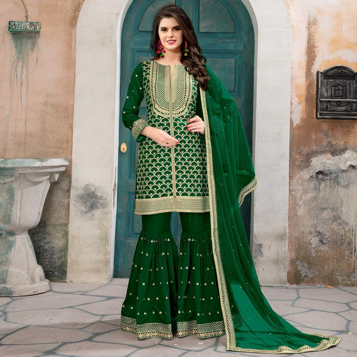 Demanding Green Colored Partywear Embroidered Art silk Palazzo Suit