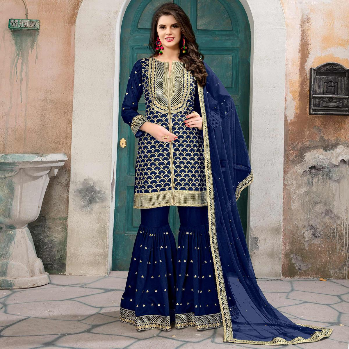 Glowing Blue Colored Partywear Embroidered Art silk Palazzo Suit