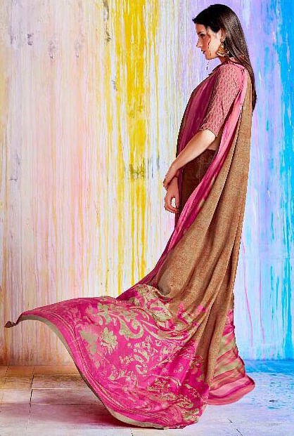 Gorgeous Brown And Pink Crepe Silk Designer Saree